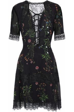 NICHOLAS Lace-paneled floral-print silk-georgette mini dress