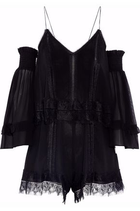 NICHOLAS Cold-shoulder lace-trimmed silk-georgette playsuit
