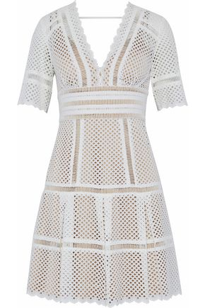 CATHERINE DEANE Inna laser-cut cotton mini dress