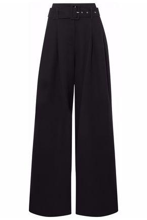 NICHOLAS Belted pleated crepe wide-leg pants