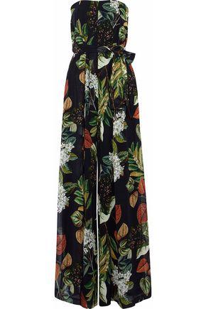 NICHOLAS Belted printed silk crepe de chine jumpsuit