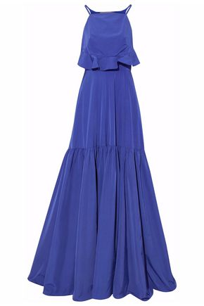 LELA ROSE Cutout pleated satin gown