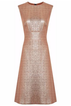 LELA ROSE Metallic cotton-blend bouclé dress
