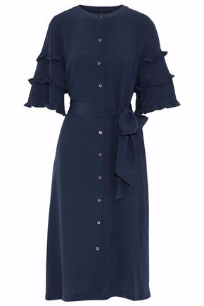 VANESSA SEWARD Belted ruffled silk crepe de chine dress