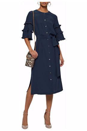 VANESSA SEWARD Belted ruffled silk crepe de chine dress