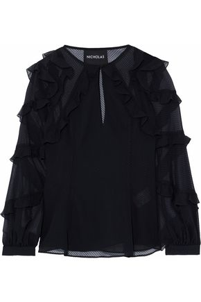 NICHOLAS Ruffle-trimmed flocked chiffon top