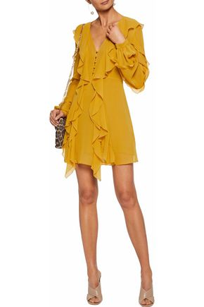NICHOLAS Ruffled silk-georgette mini dress