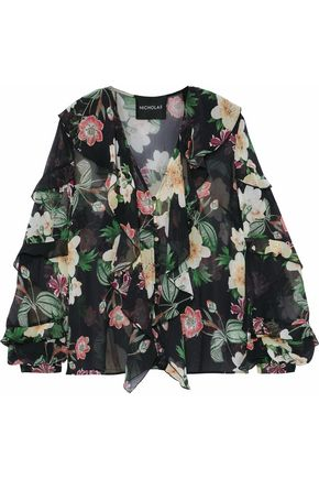 NICHOLAS Ruffled floral-print silk-chiffon top