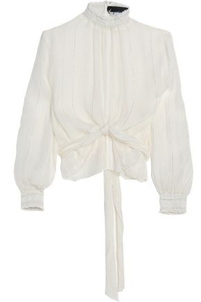 NICHOLAS Metallic striped crinkled chiffon blouse
