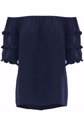 VANESSA SEWARD Off-the-shoulder ruffled silk-crepe top