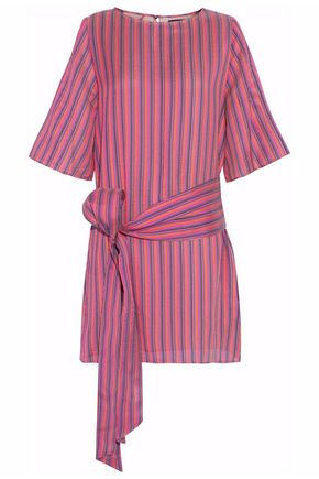 VANESSA SEWARD Belted striped silk mini dress