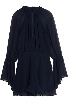 NICHOLAS Wrap-effect silk-georgette playsuit