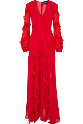NICHOLAS Belted ruffled silk-georgette maxi dress