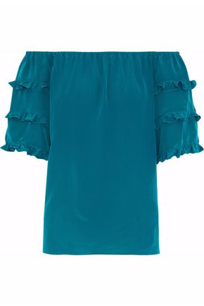 VANESSA SEWARD Off-the-shoulder ruffled silk crepe de chine top