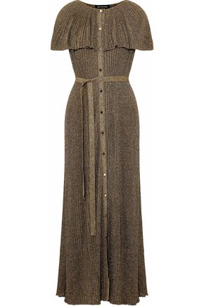 VANESSA SEWARD Pleated metallic ribbed-knit maxi dress
