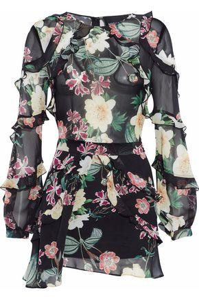 NICHOLAS Floral-print ruffled silk-organza playsuit