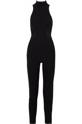 NICHOLAS Lace-paneled crepe turtleneck jumpsuit