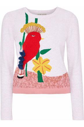 ALICE + OLIVIA Embellished intarsia cotton-blend sweater