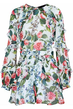 NICHOLAS Ruffled floral-print silk-georgette playsuit