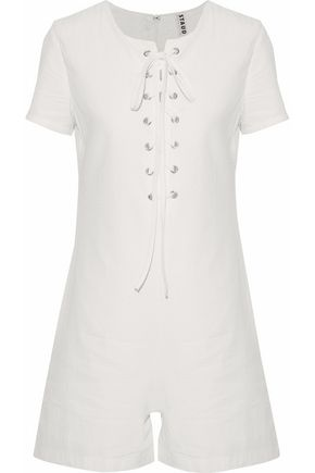 SOLID & STRIPED + STAUD Arabella lace-up cotton-seersucker playsuit