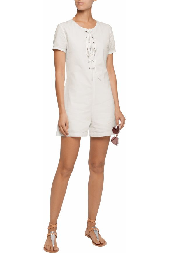 Lace-up cotton-seersucker playsuit   SOLID & STRIPED   Sale up to 70% off    THE OUTNET