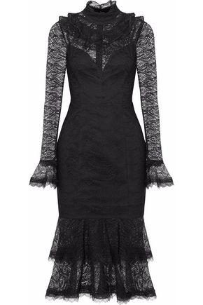 NICHOLAS Ruffled metallic lace midi dress