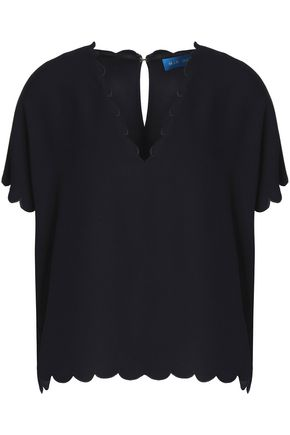 M.I.H JEANS Scalloped crepe top