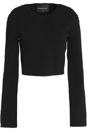 NICHOLAS Cropped stretch-ponte top