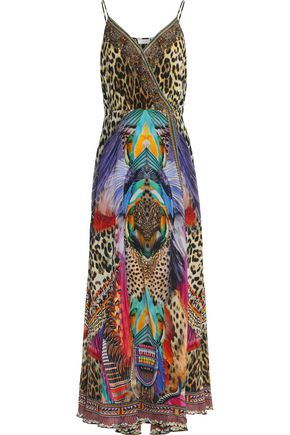 CAMILLA Wrap-effect printed silk crepe de chine maxi dress