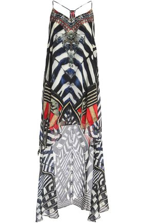 CAMILLA Asymmetric embellished printed silk-chiffon dress