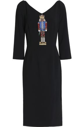 DOLCE & GABBANA Embellished embroidered crepe dress