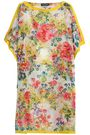 DOLCE & GABBANA Satin-trimmed floral-print cotton and silk-blend coverup