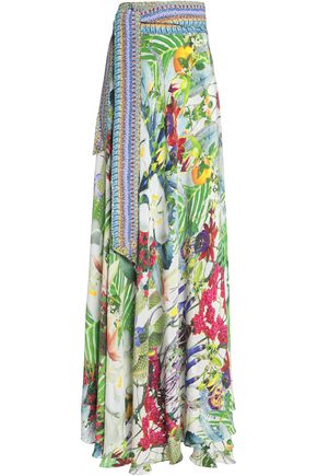 CAMILLA Floral-print silk-chiffon wrap maxi skirt