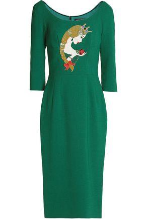 DOLCE & GABBANA Embellished embroidered wool-blend crepe dress