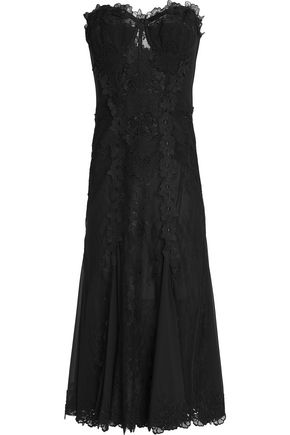 DOLCE & GABBANA Lace-appliquéd pleated crepe midi dress
