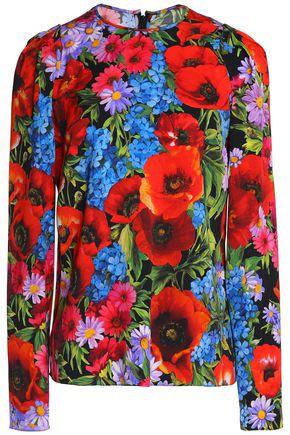 DOLCE & GABBANA Floral-print silk-blend crepe de chine blouse