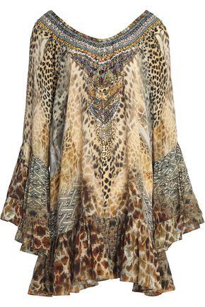 CAMILLA Embellished printed silk-chiffon mini dress