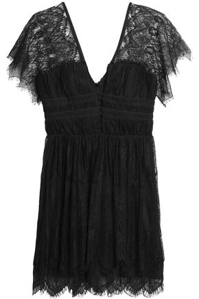 NICHOLAS Ruched lace mini dress