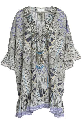 CAMILLA Embellished printed cotton kaftan