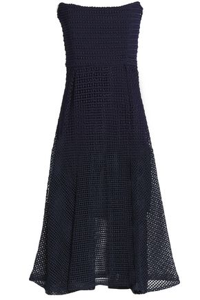 NICHOLAS Strapless pleated guipure lace midi dress