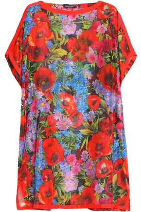 DOLCE & GABBANA Floral-print cotton and silk-blend kaftan
