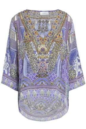 CAMILLA Printed embellished silk top