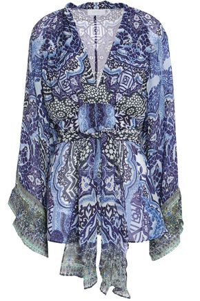 CAMILLA Embellished printed silk crepe de chine blouse