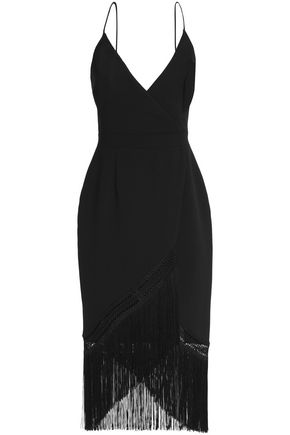 NICHOLAS Wrap-effect crochet-trimmed fringed crepe midi dress