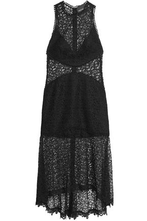 NICHOLAS Picot-trimmed fluted lace dress
