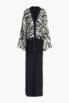 DOLCE & GABBANA Lace-paneled zebra-print silk and cotton-blend gown