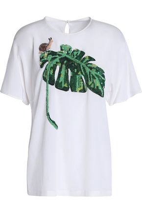 DOLCE & GABBANA Embellished embroidered silk-blend T-shirt