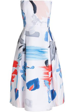 NICHOLAS Strapless pleated printed crepe dress