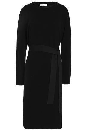 SANDRO Belted ribbed wool and cashmere-blend dress
