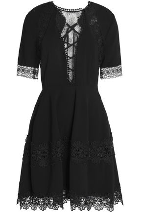 NICHOLAS Lace-paneled lace-up crepe mini dress